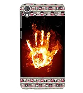 PrintDhaba flamming Hand D-6030 Back Case Cover for HTC DESIRE 820 (Multi-Coloured)