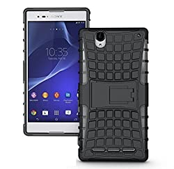 Delkart Kick Stand Cover for Sony Xperia T2 Ultra (Black)