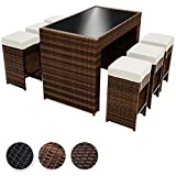 TecTake Luxus Poly Rattan Aluminium Bar Set mit 6 Barhocker