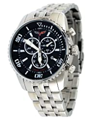 Corvette #CR215-1 Men's Stainless Steel Swiss Chronograph Black Dial Watch