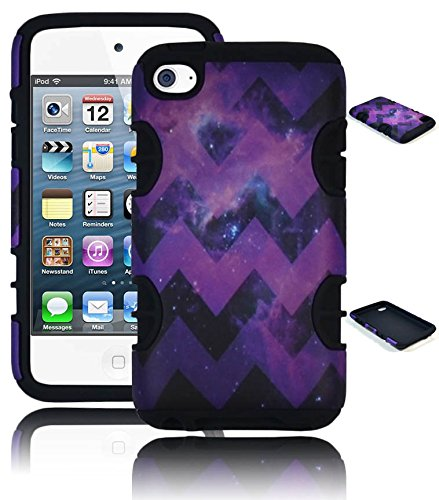 Bastex Heavy Duty Hybrid Case For Apple Ipod Touch 4 - Black Silicone With Purple Space Chevron Design Hard Shell Cover front-799391