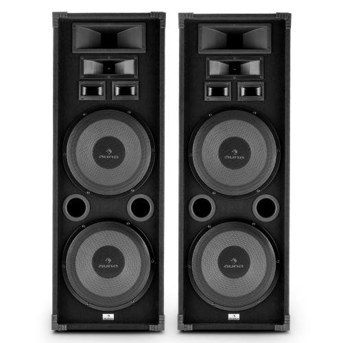 Auna-PA-2200-Fullrange-Lautsprecher-3-Wege-Boxen-PA-Lautsprecher-2-Etagen-je-2x-33cm-Tieftner-2x-1000-Watt-max-mit-Tragegriffe-Bassreflex-Bauweise-schwarz