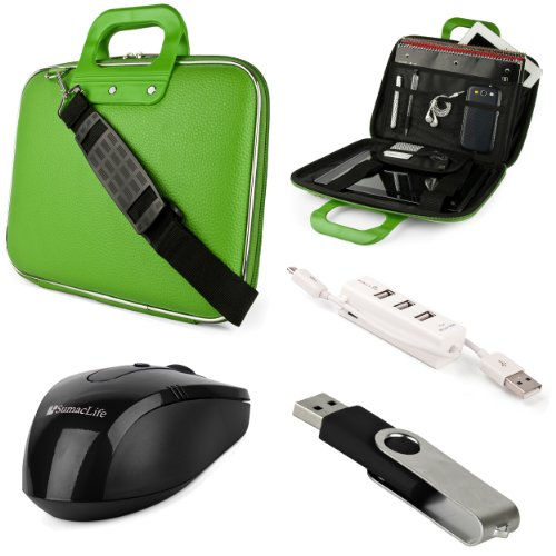Green Sumaclife Cady Semi Hard Case W/ Shoulder Strap For Asus K52 Series 15.6-Inch Notebook + Black Sumaclife Wireless Usb Mouse And Adapter + Black 4Gb Flash Memory Thumbdrive + Kallin Universal 3 Port Usb Hub With Micro Usb Charger Cable