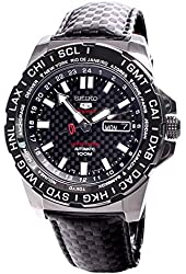 Seiko Automatic Sport Leather Band Black Dial Bi-Directional Mens Watch SRP723