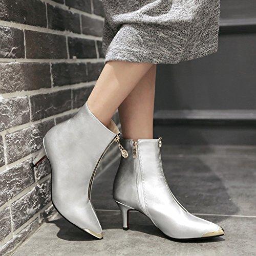 Stiefel & Stiefeletten Mode sexy/Bekleidete Frau zeigte Schuhe/Stiefel mit hohen Absätzen/Zipper Dekoration/Elegante weibliche Stiefel-D Fußlänge=21.8CM(8.6Inch)