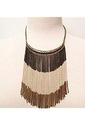 Multi Colored Chain Fringe Necklace