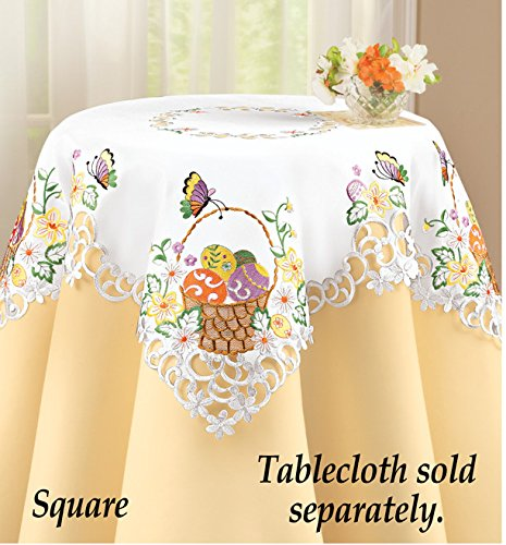 Superbe Easter Basket Colorful Eggs Embroidered Table Linen Square Exquisite  Embroidery On A White Background And Feature Easter Eggs With Butterfly And  Daisy ...