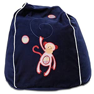 Cocoon Couture Mini Monkey Kids Bean Bag Cover, Red Monkey on Navy 100% washable pinwale cotton from Cocoon Couture
