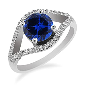 2.62 Ct Round Blue Created Sapphire 925 Sterling Silver Ring