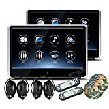 XTRONS 2 x 11.6 Inch Pair 19201080 HD Digital TFT IPS Touch Screen Car Headrest DVD Player with HDMI Port 1080P Video Games IR Headphones (HD121THD_Silverx2+DWH002x2) (Color: HD121THD_Silverx2+DWH002x2)