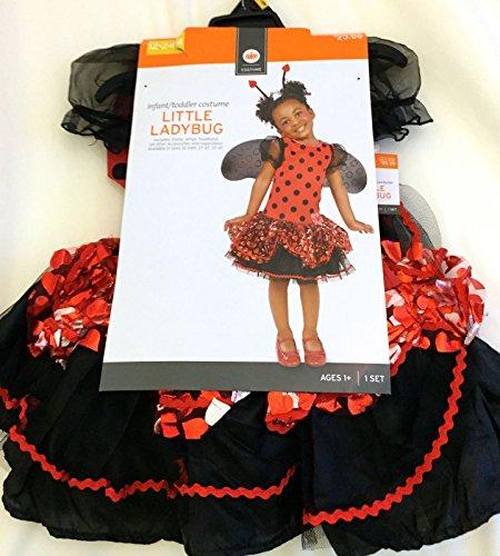 [NEW Infant Toddler Little Ladybug w/ Wings Halloween Costume Glitter Girls12-24M] (666 Halloween Costume)