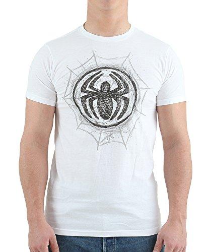 Marvel Spiderman Men's Spider-Man Graphite Web T-Shirt, White, Medium