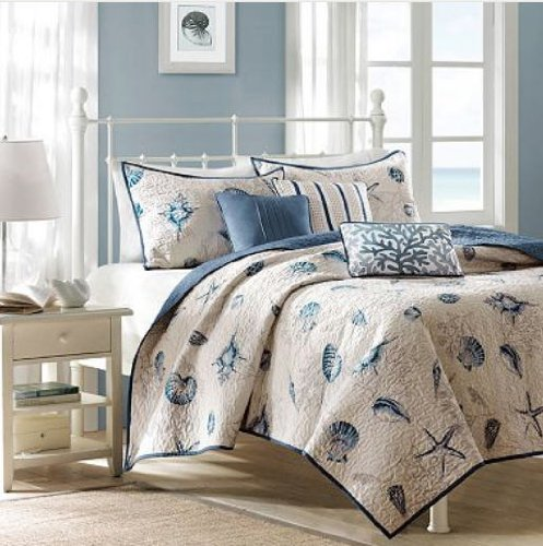 Seashell Beach House Nautical Full / Queen Quilt, Shams & Toss Pillows (6 Piece Bedding) (Beach Quilts Queen Size compare prices)