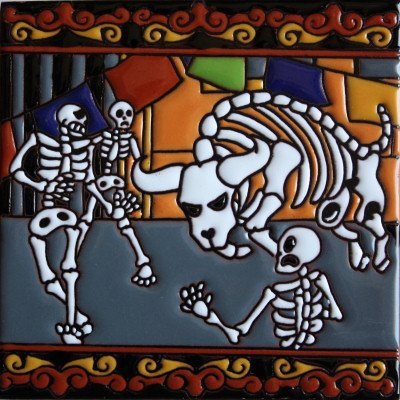 6x6-running-of-the-bulls-day-of-the-dead-clay-tile