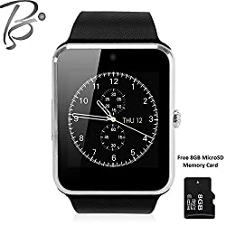 Blackseed Advance GT08S (SILVER) Smart Watch with Sim and Memory Slot + Free 8GB MicroSD Memory Card