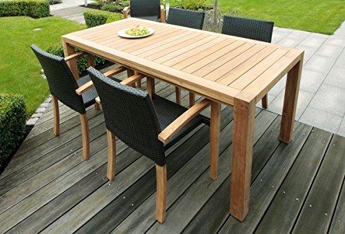 Landmann Rattan Essgruppe Astena – 4 Sitze mit Tisch 190x90cm, Teak günstig