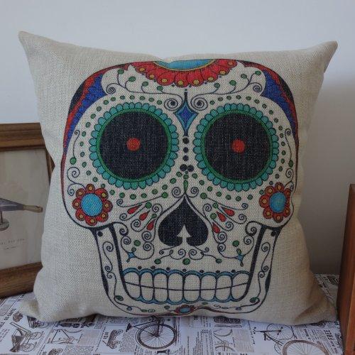 Skull Halloween All Hallows' Eve Linen Cushion Cover Pillow Case Mexican Day Of The Dead Calavera All Souls Day Día De Muertos front-1038761
