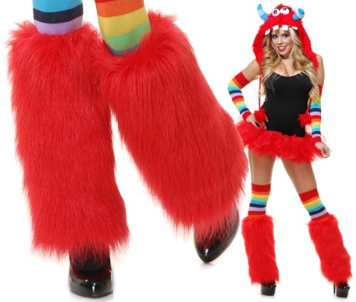Charades Adult Rave Monster Costume Furry Red Leg Warmers