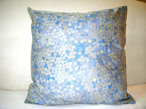 Blue Floating Dots Pillow Cover 17 In. Square 100% Cotton Zipper Closure! Same Fabric On Both Sides Abstract Circles With Gold Accents On Blue Background - Insert Available Separately 17