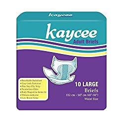 Kaycee Breathable, Premium, easy to use velcro tapes, Adult Diapers - Large Size (Fits waist size 45-58 inches) (Count 10) - Made in USA