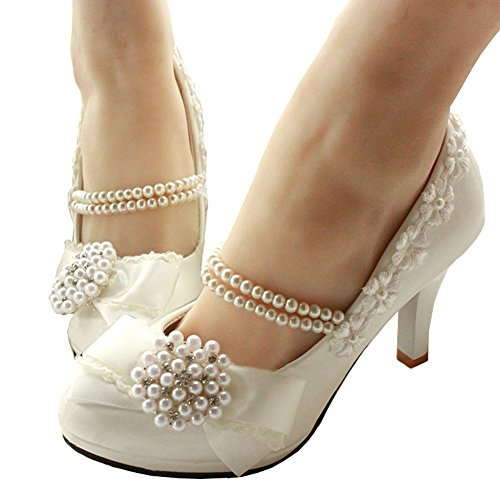 Getmorebeauty Women's With Pearls Across Ankle Top High Heel Wedding Shoes (7 B(M) US)