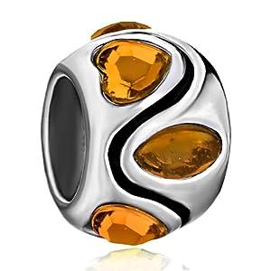 Pugster November Birthstone Citrine Topaz Crystal Heart Stripes Symmetric Gift Holiday Beads Fits Pandora Charm Bracelet