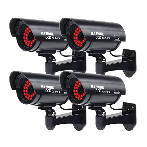 Read About Masione® 4 Pack Outdoor Fake / Dummy Security Camera with 30 Illuminating LED Light (Bla...