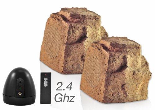 Osd Audio Wr150 Wireless 5.25-Inch Outdoor 2.4 Ghz Rock Speaker Pair, Brown