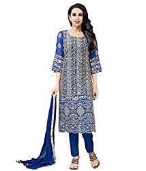 SANCHEY Womens Georgette Semi-stitched Salwar Suit Dupatta Material (Blue)