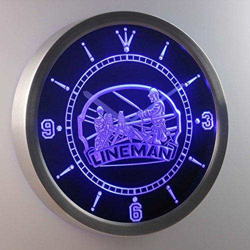 Nc0391-B Lineman D?Cor Bar Beer Gift Neon Sign Led Wall Clock