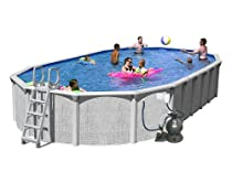 Big Sale Splash Pools Above Ground Slim Style Oval Pool Package, 30-Feet by 15-Feet by 52-Inch
