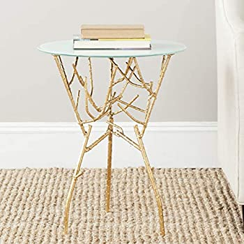 Safavieh FOX2520A-Parent Home Collection Tara Branched Glass Top Accent Table, 5 Round, Gold/White