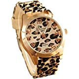 Fashion Unisex Geneva Leopard Silicone Jelly Gel Quartz Analog Wrist Watch(Gold)
