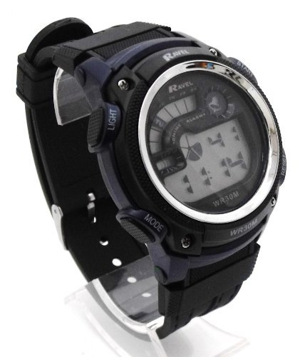 Mens Digital LCD Chronograph Sports Watch - Gift Boxed - Multi Functional- 15-22cm Strap - 3ATM - D Blue