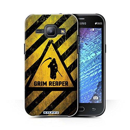 Custodia/Cover/Caso/Cassa Rigide/Prottetiva STUFF4 stampata con il disegno Segnali di avvertimento di pericolo per Samsung Galaxy J1 Ace/J110 - Morte/reaper