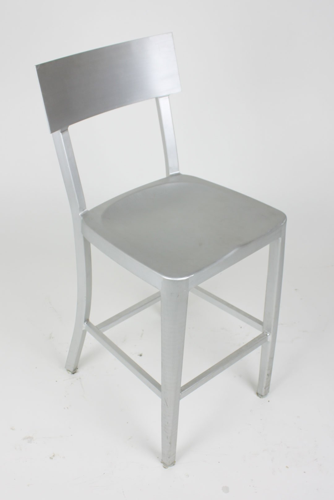 Charmant Modern Cafe Dining Chair In Brushed Aluminum Counter Height