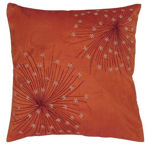 Imagen 1 de Cojín de seda bordada india cubiertas decorativas Tamaño 16 x 16 pulgadas Juego de 2 piezas
