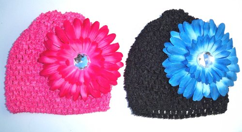 BABY STRETCH CROCHET BEANIE HAT W/ DAISY FLOWER HAIRCLIP (4PCS SET)