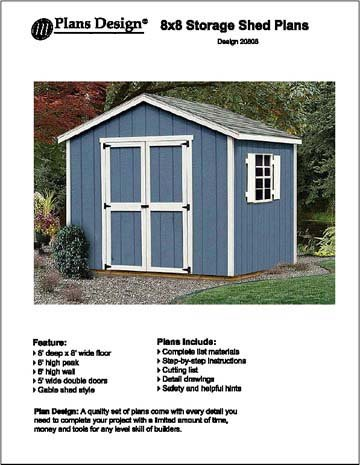 8 39 x 8 39 classic gable storage shed project plans design for Garden shed qatar