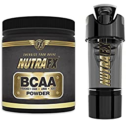 NutraFX BCAA Powder - 6 Grams Per Serving Extra Strength - 40 Servings - Unflavored - Best Amino Acids Bodybuilding Supplements - Post Workout Muscle Recovery - With High Tech Shaker Bottle