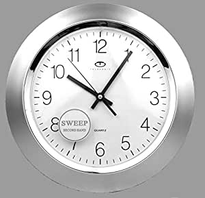 """Silver Quartz Wall Clock with Quiet Sweep Second Hand - 13"""""""