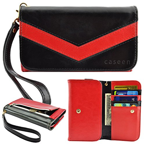Smartphone Wristlet, Smartphone Wallet, caseen ViVi Womens Clutch Credit Card Case (Red/Black) for Smart Phone, Apple iPhone 6 / 6S Plus, Samsung Galaxy S6 / S6 Edge S6edge+ S5 Active Note 5 4 3 2 II, Google Nexus 6, HTC One M9 / EYE / M8, Sony Xperia Z4 Z3 Z2 Z1, LG G4 G3 / G Pro 2 / Intuition, ASUS PadFone X [Up to 6.25 x 3.5 Inch Cellphone]  Large Size (Galaxy Note Edge Cases For Women compare prices)