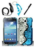 img - for 4 Items Combo For Samsung Galaxy S4 Mini i9190 / i9192 / i9195 Blue Silver Vines Design Rubberized Hard Case Snap On Protector Cover + Car Charger + Free Stylus Pen + Free Alloy Beer Bottle Opener Dolphin Keychain book / textbook / text book