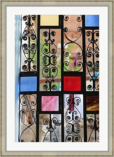 Africa, Tanzania, Zanzibar, Stone Town. Stained glass and iron door. by Alida Latham / Danita Delimont Framed Art Print Wall Picture, Silver Scoop Frame with Hanging Cleat, 32 x 44 inches