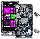 Bastex Snap On Case for Nokia Lumia 521 - Silver & Black Skull Design Shell