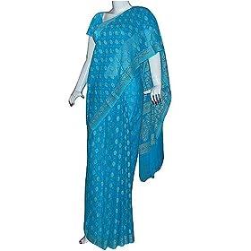 Silk Fashion Turquoise Saree - India Traditional Clothing (ssari105)