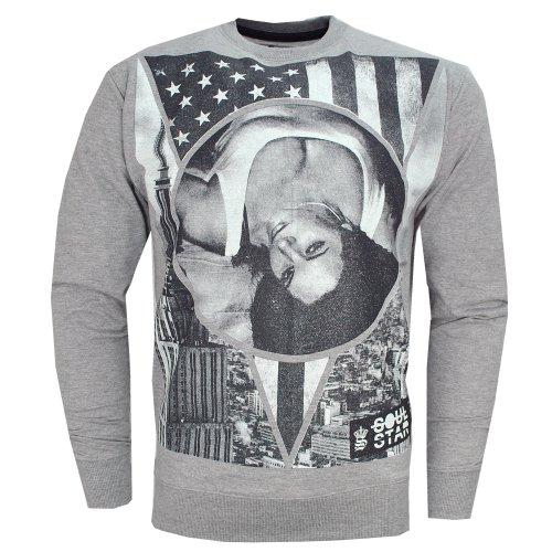 Soulstar Newyork City Star Stripes Jumper Sweatshirt Top Mens Grey Size XL