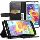 EasyAcc Samsung Galaxy S5 Hülle Wallet Case Flip Cover Hüllen Schutzhülle Etui Ledertasche Lederhülle Premium Hülle mit Standfunktion für Samsung Galaxy S5 i9600 (Kunstleder, Schwarz)