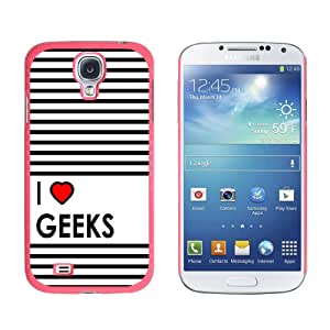 Graphics and More I Love Heart Geeks Snap-On Hard Protective Case for Samsung Galaxy S4 - Non-Retail Packaging - Pink