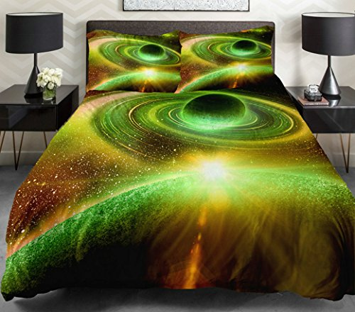 Anlye Galaxy Quilt Cover Galaxy Duvet Cover Galaxy Sheets Space Sheets Outer Space Bedding Set With 2 Matching Pillow Covers (King) front-684835
